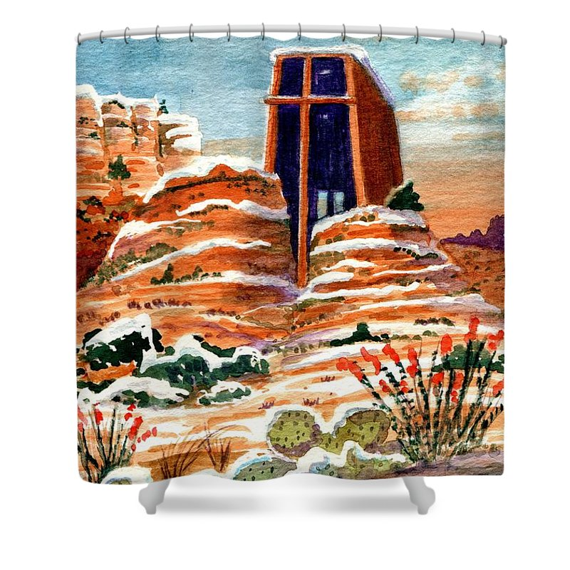 Chapel Of The Holy Cross Shower Curtain featuring the painting Quiet Snowfall Sedona Arizona by Marilyn Smith