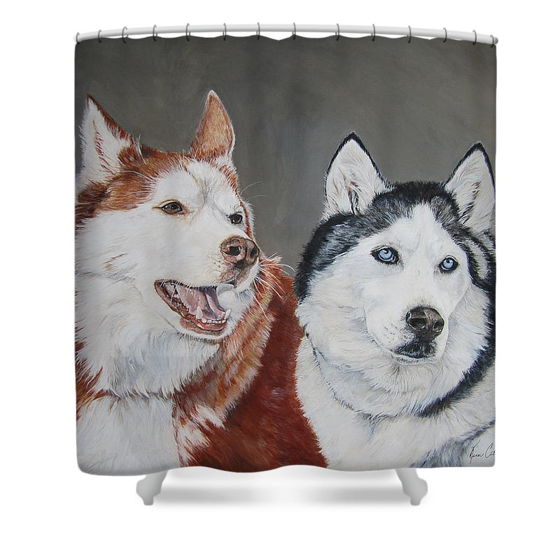 Husky Shower Curtain featuring the painting Quite The Pair by Renee Catherine Wittmann