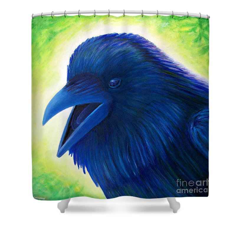 Raven Shower Curtain featuring the painting Raaawk by Brian Commerford