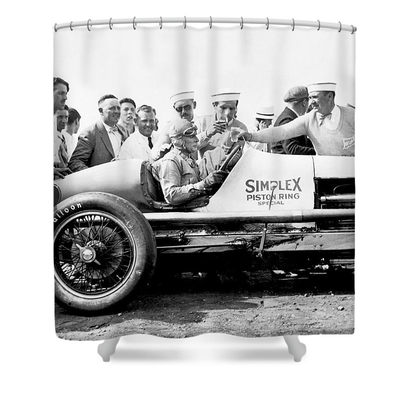 1920s Shower Curtain Featuring The Photograph Race Car Driver Ray Keech By Underwood Archives
