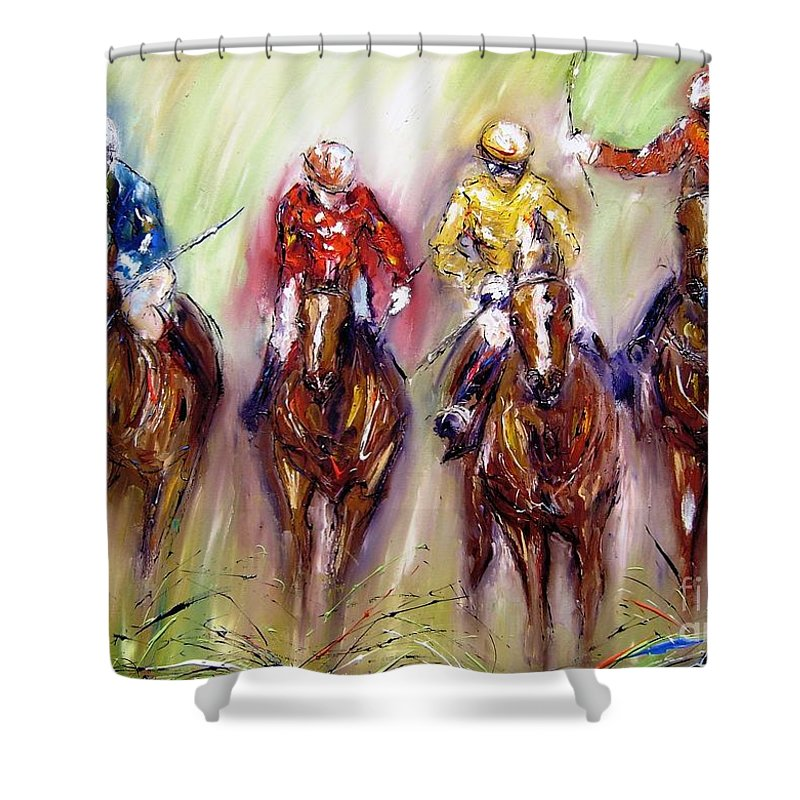 Racing Shower Curtain featuring the painting Irish Racehorses Available As A Signed And Numbered Print See Www.pixi-.com by Mary Cahalan Lee- aka PIXI