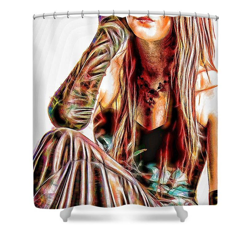 Female Shower Curtain featuring the digital art Rachael In Pensive Mood by John Lynch