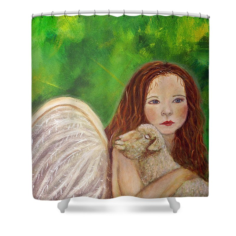 Irish Shower Curtain featuring the painting Rachelle Little Lamb The Return To Innocence by The Art With A Heart By Charlotte Phillips
