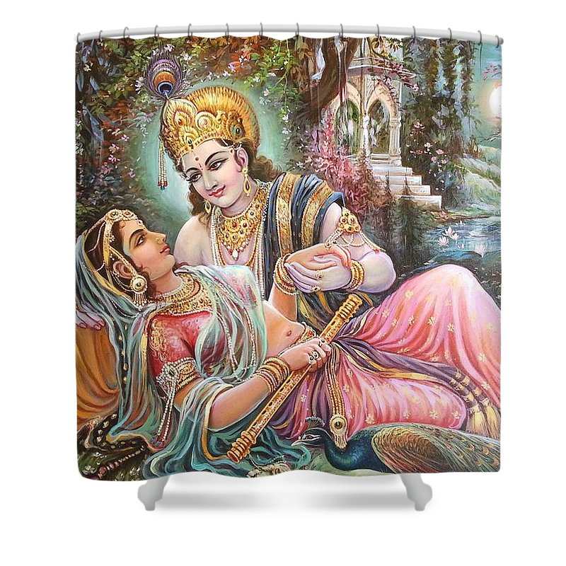 Radha Krishna Oil Canvas Painting Shower Curtain For Sale By Mayur Sharma