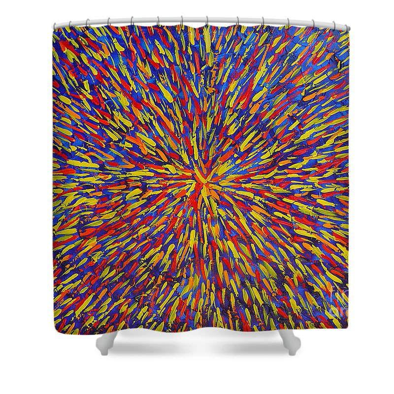 Abstract Shower Curtain featuring the painting Radiation Blue by Dean Triolo