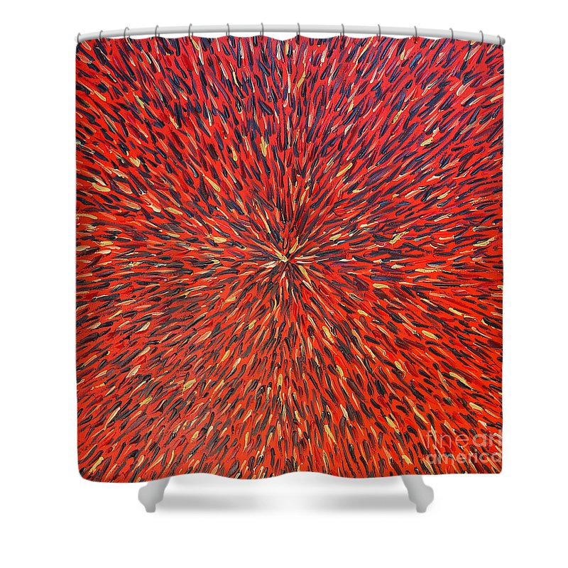 Abstract Shower Curtain featuring the painting Radiation Red by Dean Triolo