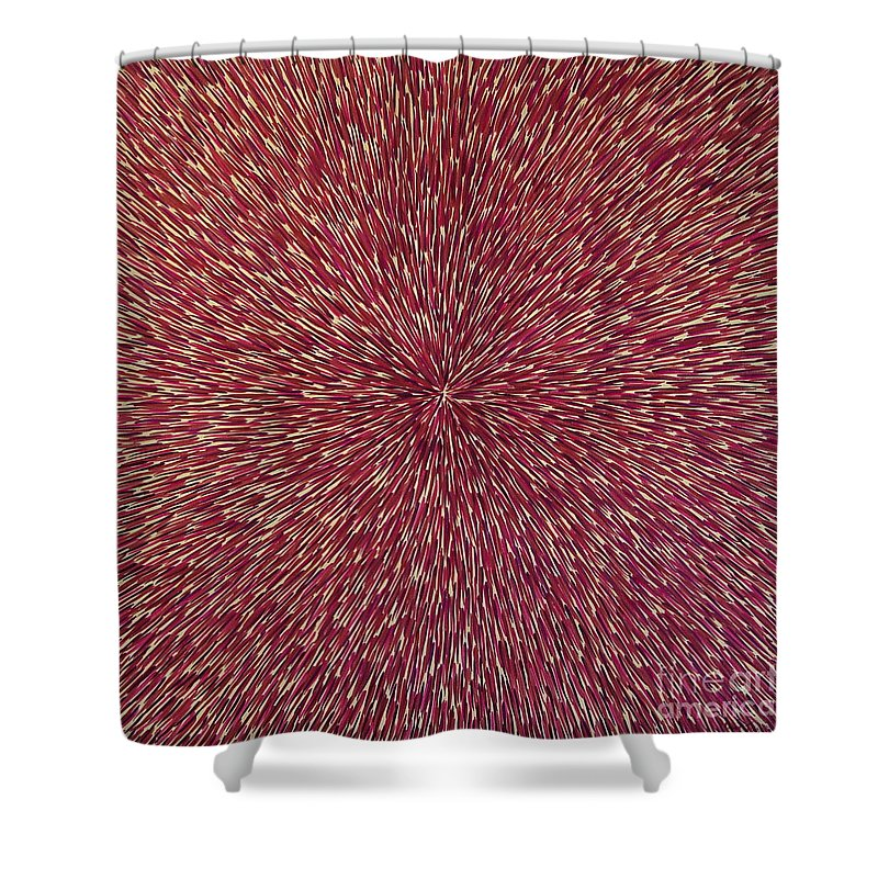 Abstract Shower Curtain featuring the painting Radiation With Brown Magenta And Violet by Dean Triolo