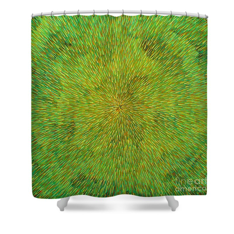 Abstract Shower Curtain featuring the painting Radiation With Green Yellow And Orange by Dean Triolo