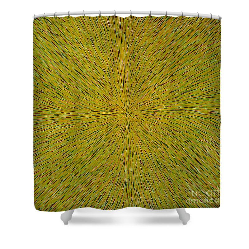 Abstract Shower Curtain featuring the painting Radiation With Yellow Green And Red by Dean Triolo