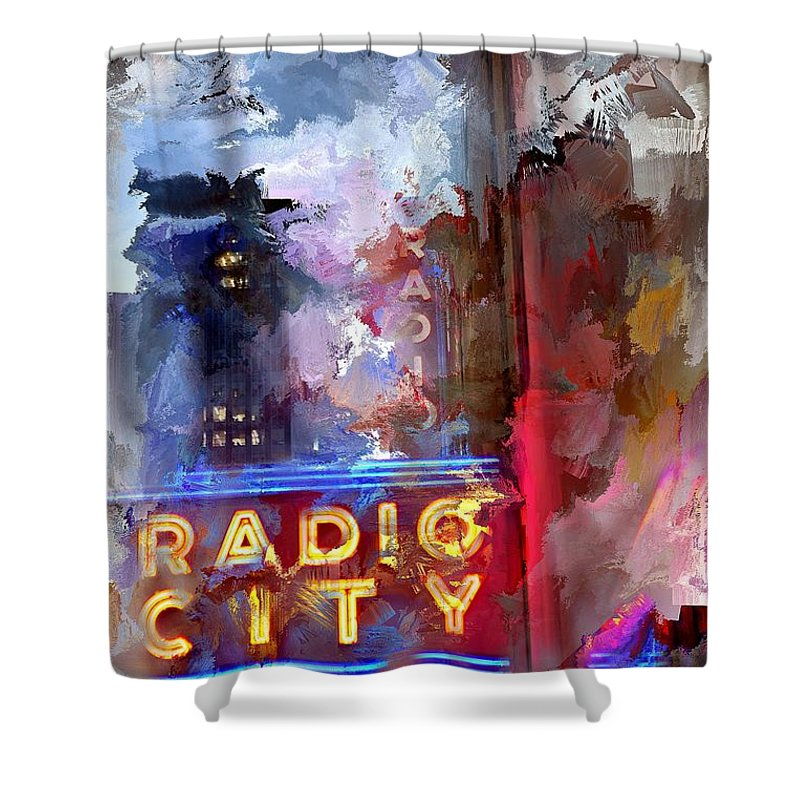 Evie Shower Curtain featuring the photograph Radio City New York by Evie Carrier