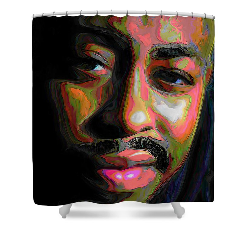 Raheem Devaughn Shower Curtain featuring the painting Raheem Devaughn by Fli Art