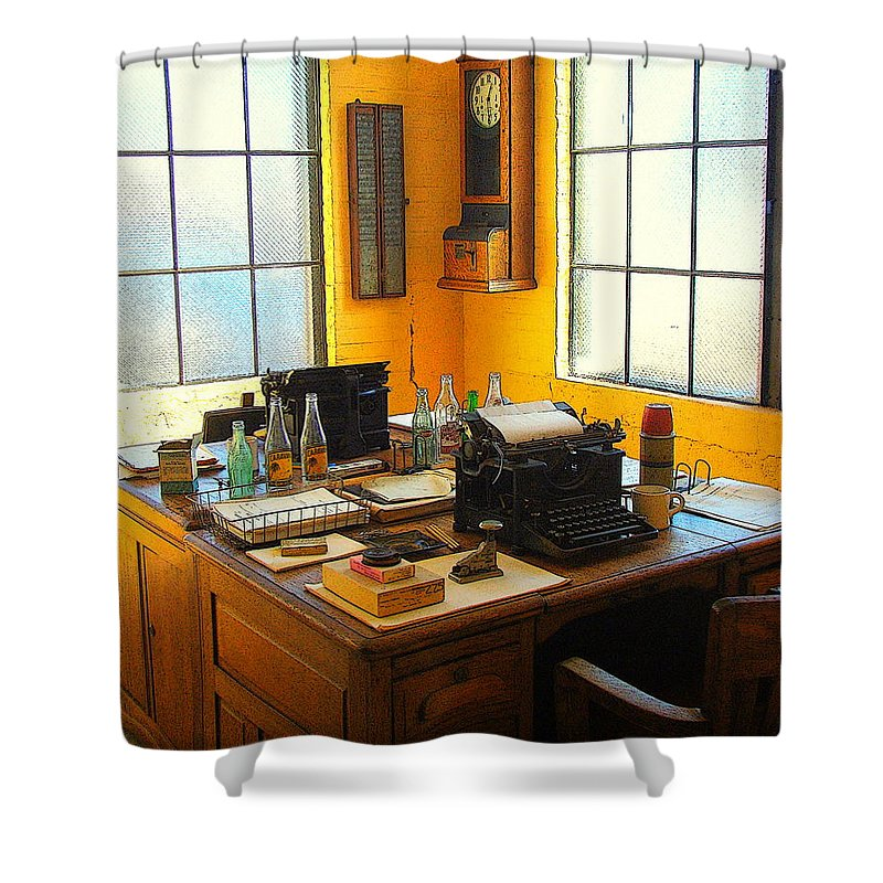 Fine Art Shower Curtain featuring the photograph Rail Office by Rodney Lee Williams
