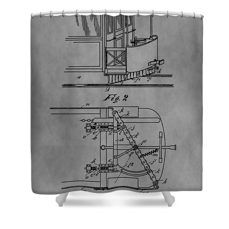 Tramway Fender Patent Shower Curtain featuring the drawing Railcar Fender by Dan Sproul