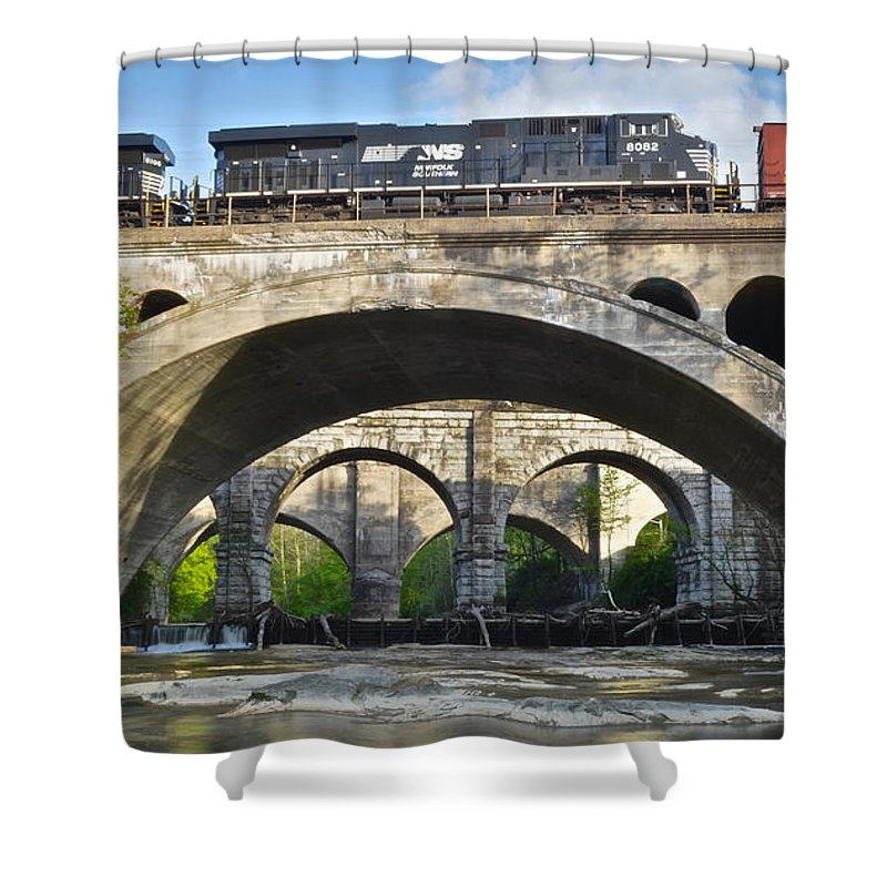 Bridges Shower Curtain featuring the photograph Railroad Bridges by Frozen in Time Fine Art Photography