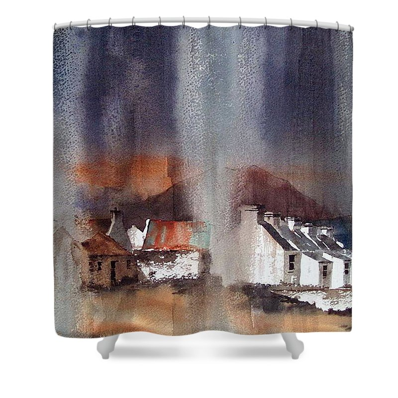 Val Byrne Shower Curtain featuring the mixed media Rain Fall On Dooagh Achil by Val Byrne