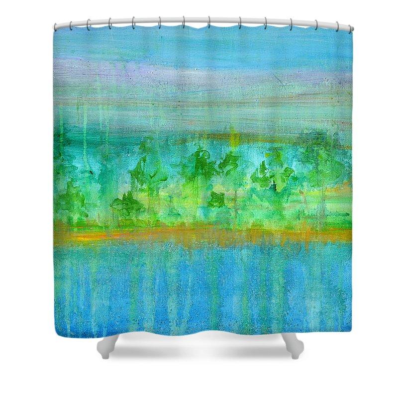 Rain Shower Curtain featuring the painting Rain Original Contemporary Acrylic Painting On Canvas by Regina Valluzzi