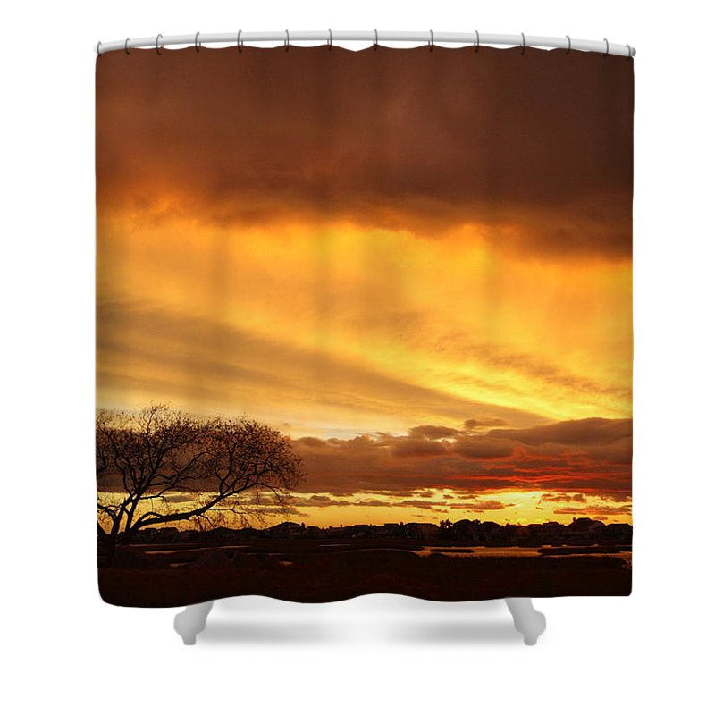 Galveston Shower Curtain featuring the photograph Storm At Dusk 2am-108330 by Andrew McInnes