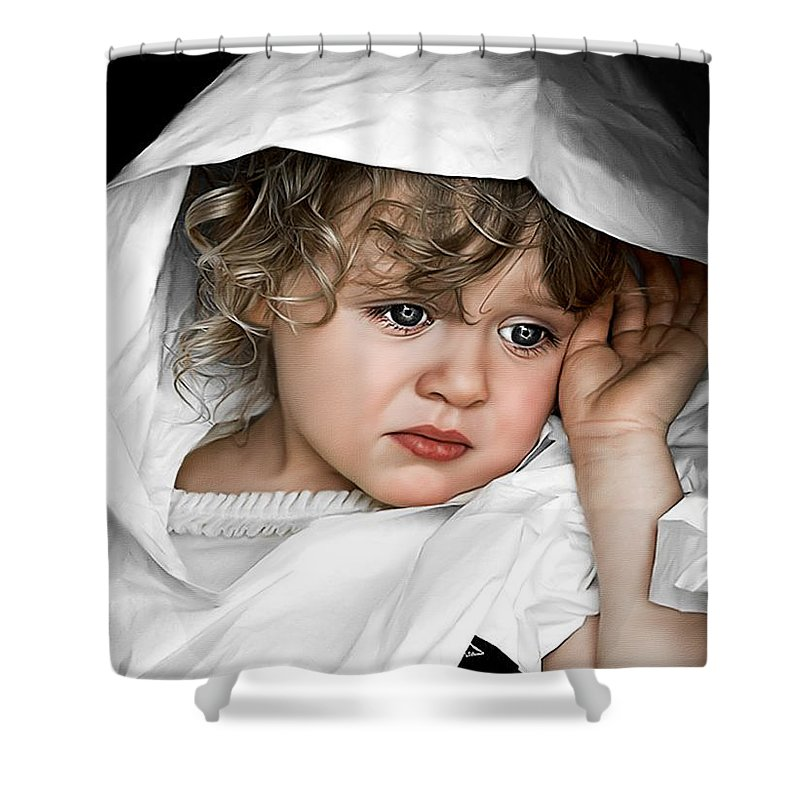Portraits Shower Curtain featuring the painting Rain Rain Go Away by Tom Schmidt
