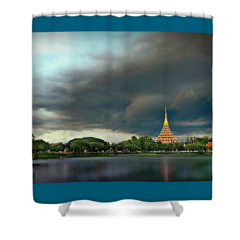 Storm Shower Curtain featuring the photograph Rain Storm Lake View by Ian Gledhill