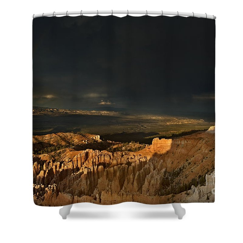 North America Shower Curtain featuring the photograph Rainbow And Thunderstorm Bryce Canyon National Park Ut by Dave Welling