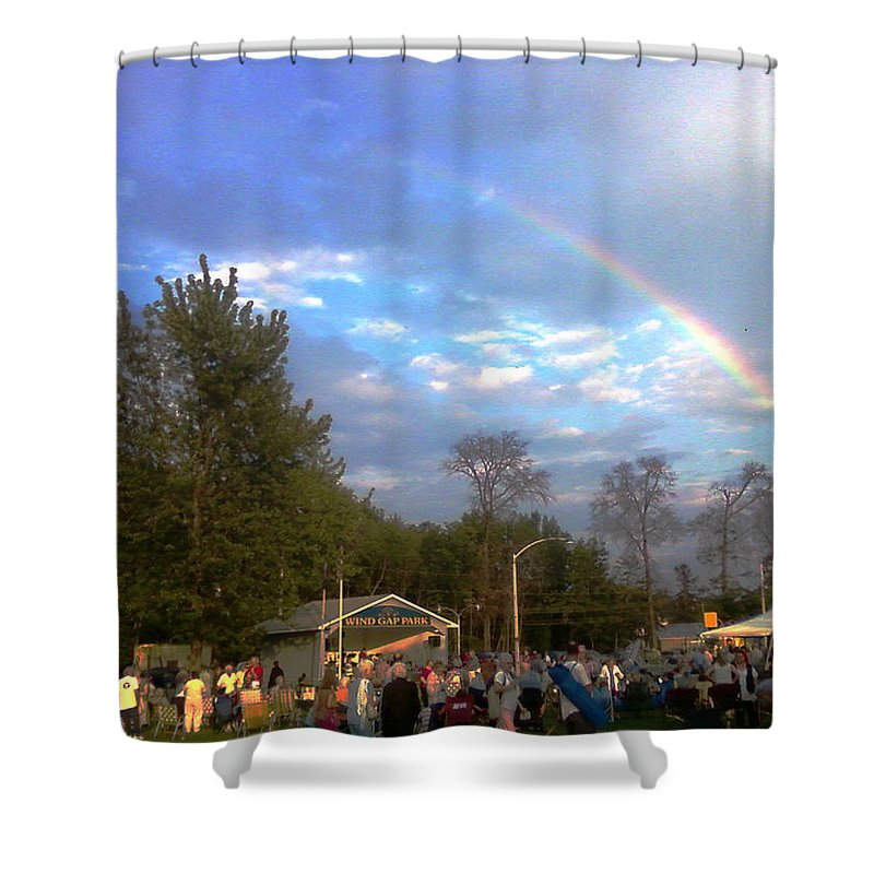 Landscapes Shower Curtain featuring the digital art Rainbow At Wind Gap Park by Diane Paulhamus