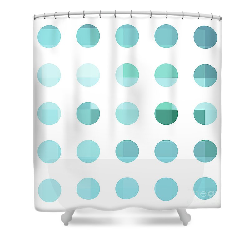 Abstract Shower Curtain featuring the painting Rainbow Dots Aqua by Pixel Chimp