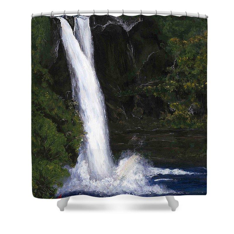 Waterfall Shower Curtain featuring the painting Rainbow Falls Hilo Hawaii by Carlene Salazar