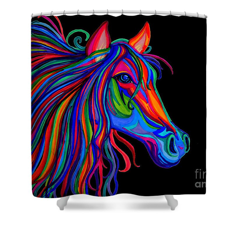 Horse Shower Curtain featuring the drawing Rainbow Horse Head by Nick Gustafson