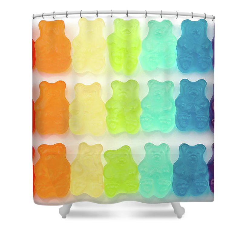 Order Shower Curtain featuring the photograph Rainbow Jelly Bear Candy by Melissa Ross