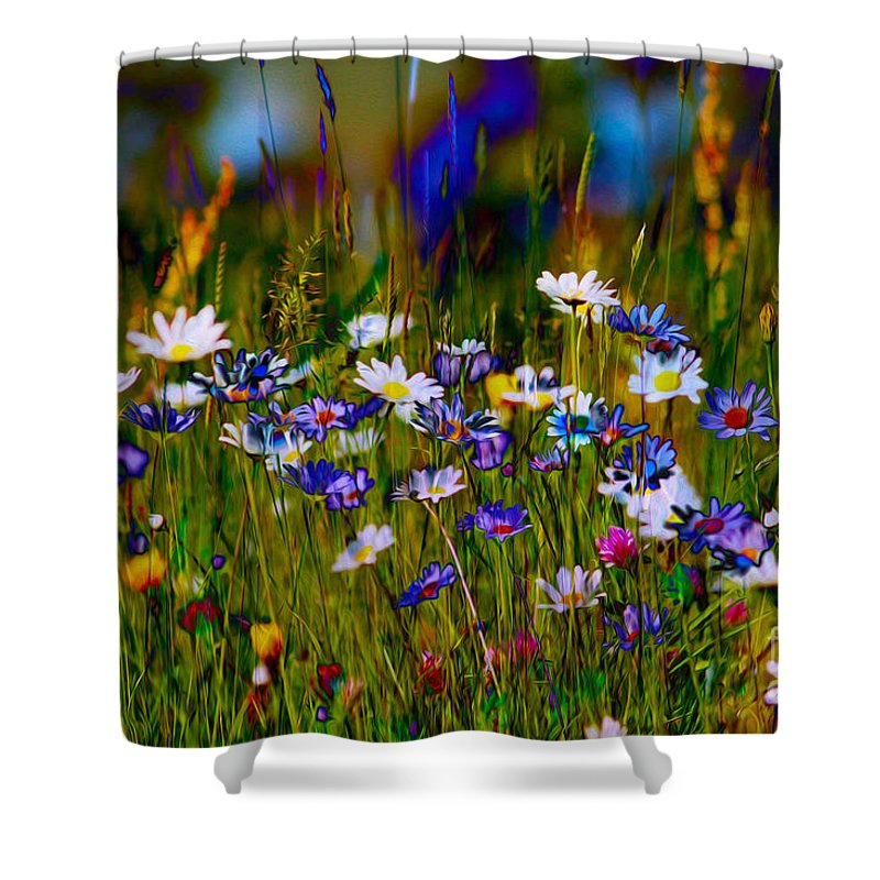Meadow Shower Curtain featuring the mixed media Rainbow Meadow by P Donovan