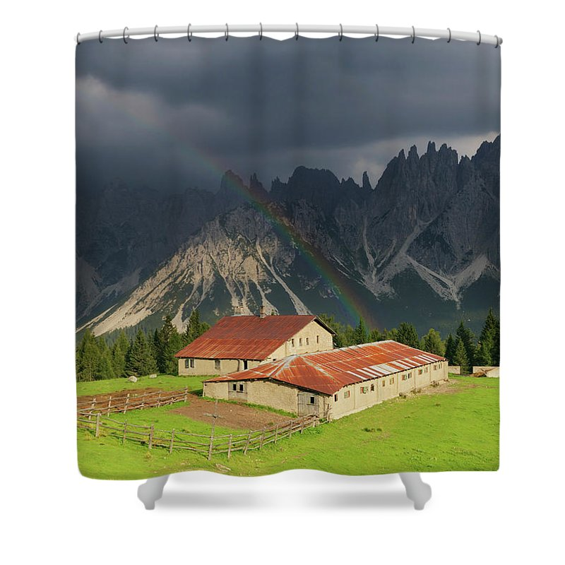 Belluno Shower Curtain featuring the photograph Rainbow Over Casera Vedorcia Dolomites by Albertosimonetti
