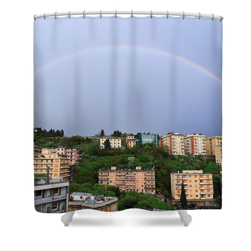 Arc Shower Curtain featuring the photograph rainbow over Genova by Antonio Scarpi
