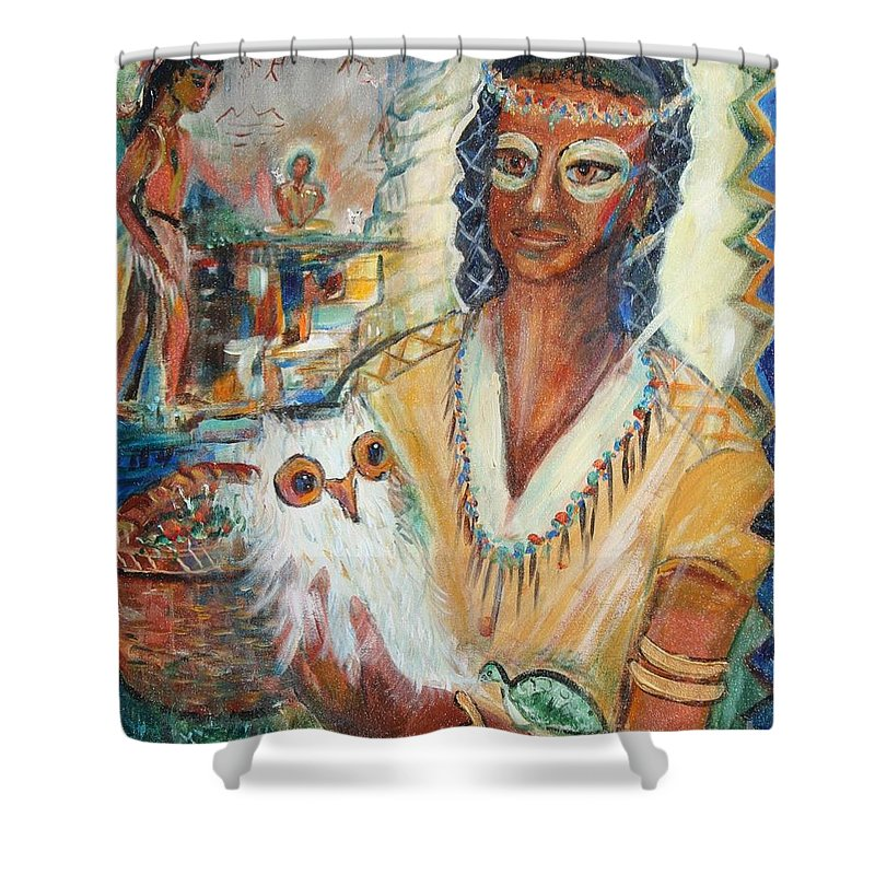Woman Shower Curtain featuring the painting Rainbow Owl by Avonelle Kelsey