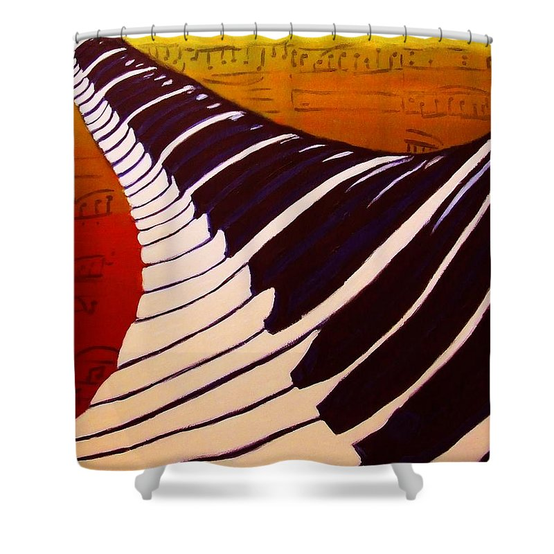 Rainbow Piano Shower Curtain Featuring The Painting Keyboard Twist In Acrylic Paint With Sheet