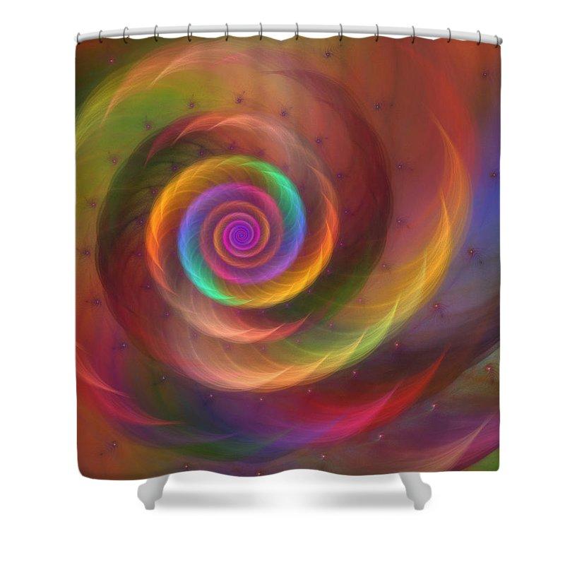 Rainbow Shower Curtain featuring the digital art Rainbow Whispers by Kiki Art