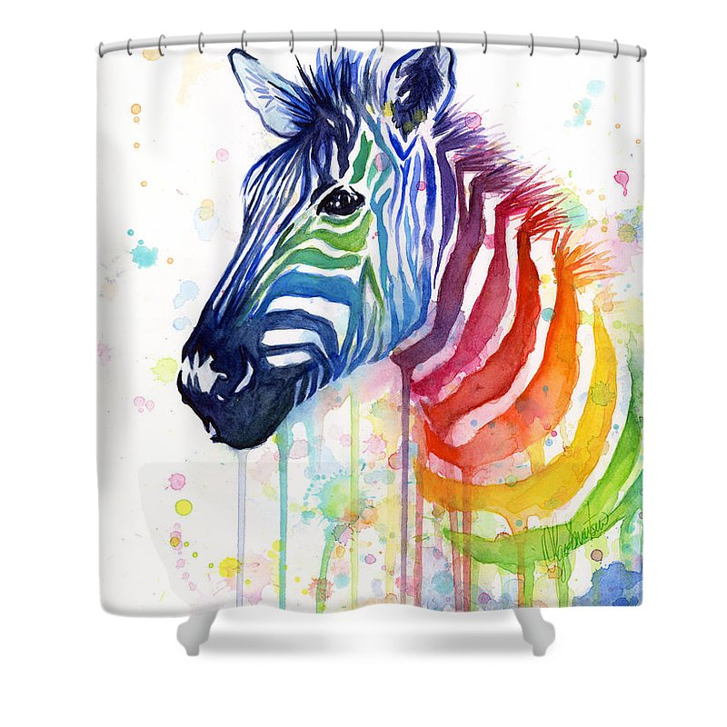 Rainbow Shower Curtain featuring the painting Rainbow Zebra - Ode to Fruit Stripes by Olga Shvartsur