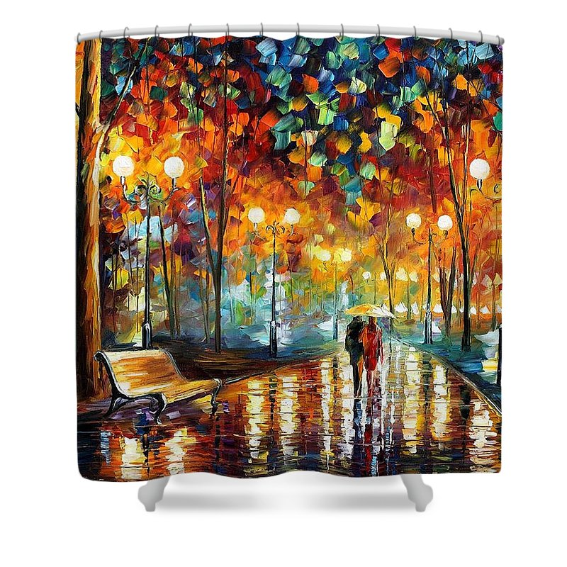 Leonid Afremov Shower Curtain featuring the painting Rain's Rustle 2 - Palette Knife Oil Painting On Canvas By Leonid Afremov by Leonid Afremov