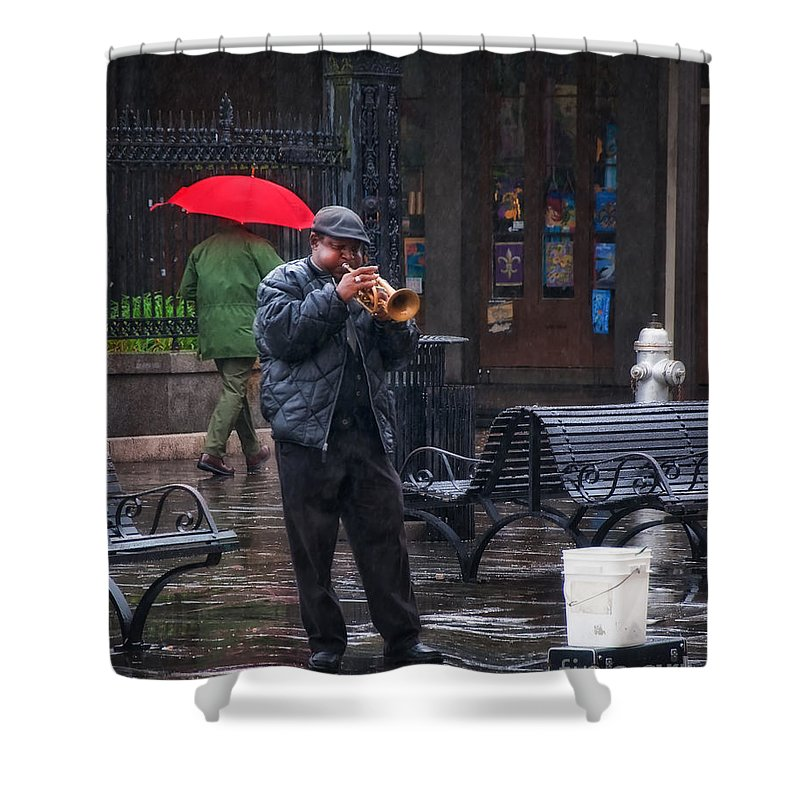 Music Shower Curtain featuring the photograph Rainy Day Blues New Orleans by Kathleen K Parker
