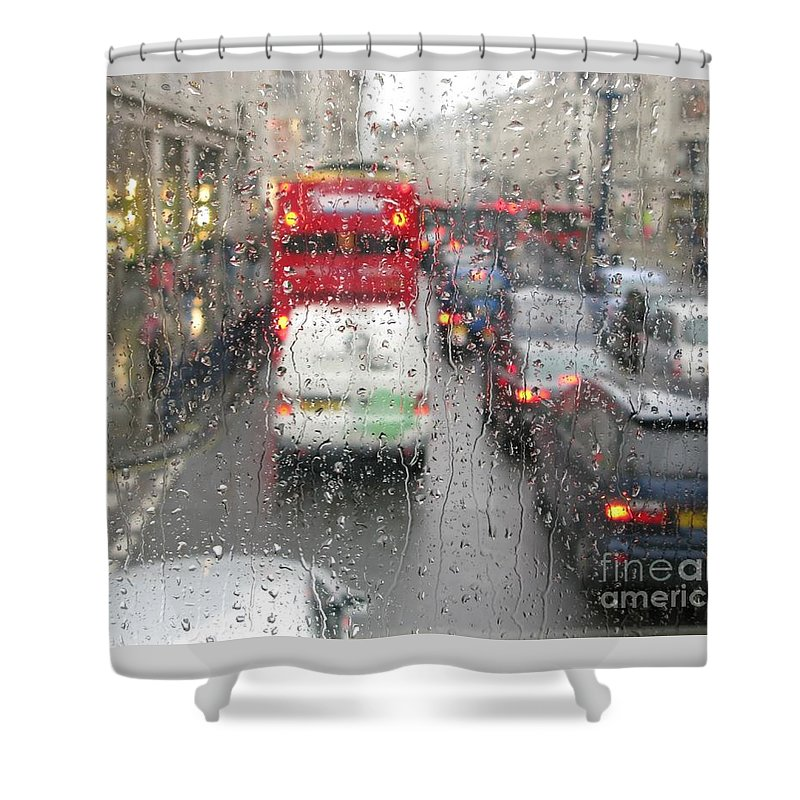 Rainy Day London Traffic By Ann Horn Shower Curtain featuring the photograph Rainy Day London Traffic by Ann Horn