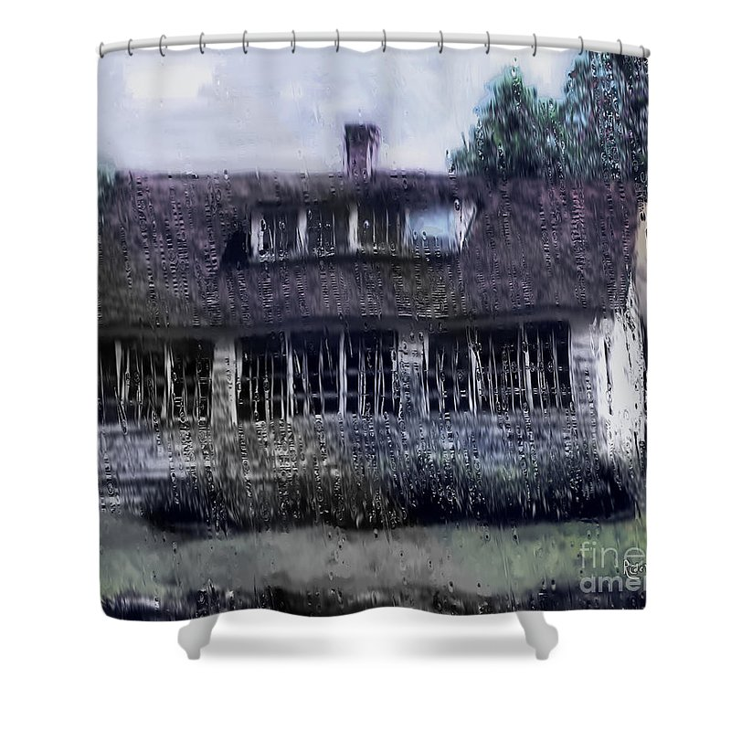 House Shower Curtain featuring the painting Rainy Day Long Ago House by RC deWinter