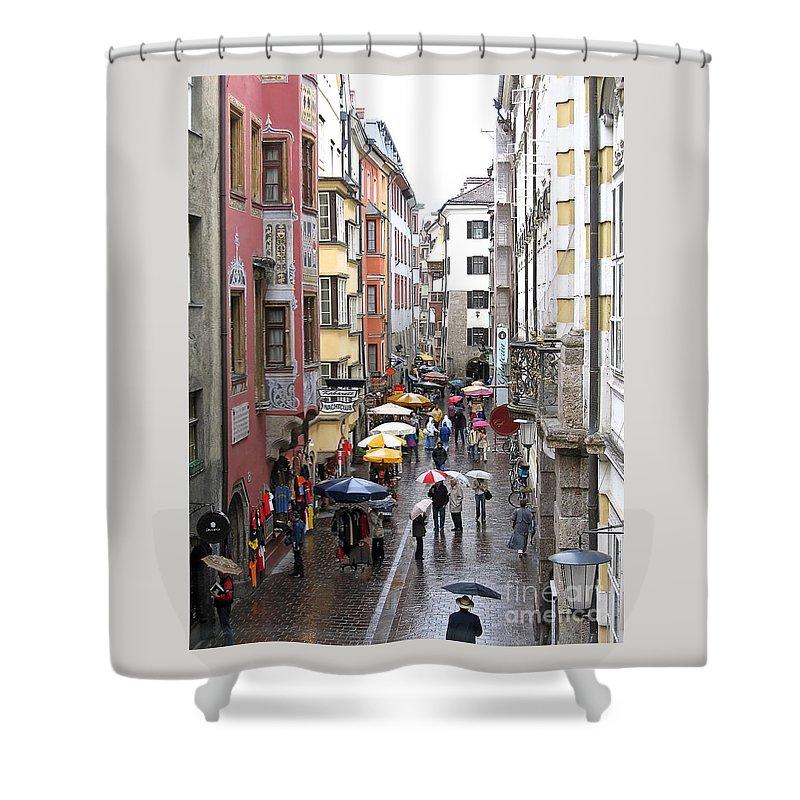 Innsbruck Shower Curtain featuring the photograph Rainy Day Shopping by Ann Horn