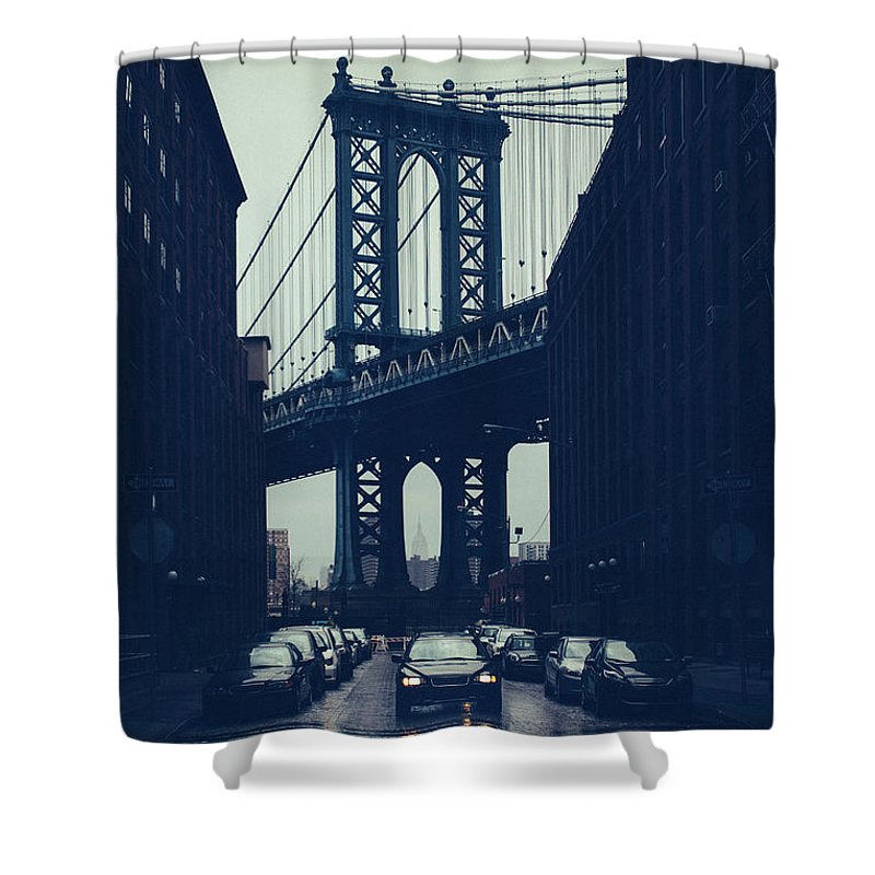 Parking Lot Shower Curtain featuring the photograph Rainy New York City by Ferrantraite