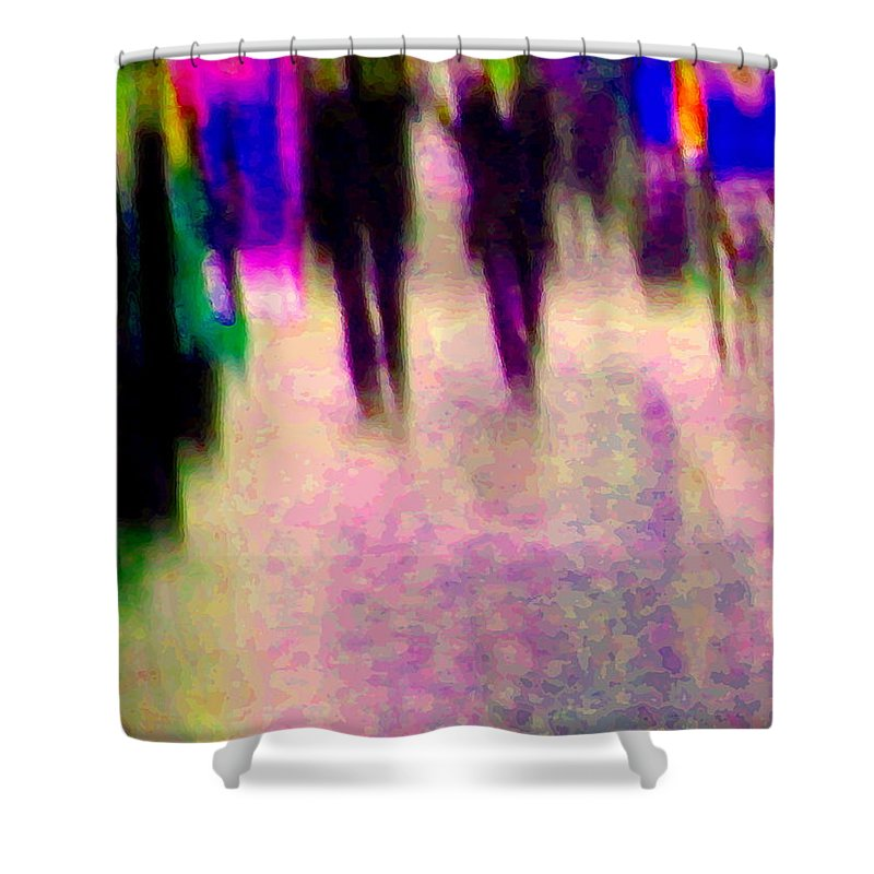 Rain Shower Curtain featuring the painting Rainy Night In The City Downtown Evening Stroll Through The Puddles Montreal Art Carole Spandau by Carole Spandau