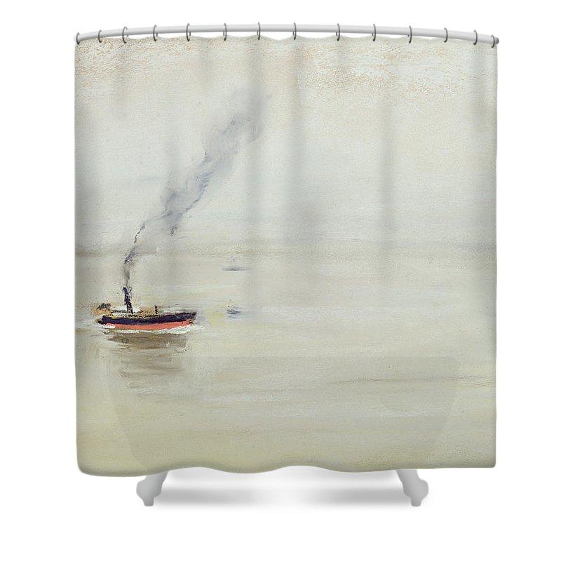 Regenstimmung Auf Der Elbe Shower Curtain featuring the painting Rainy Weather On The Elbe by Max Liebermann