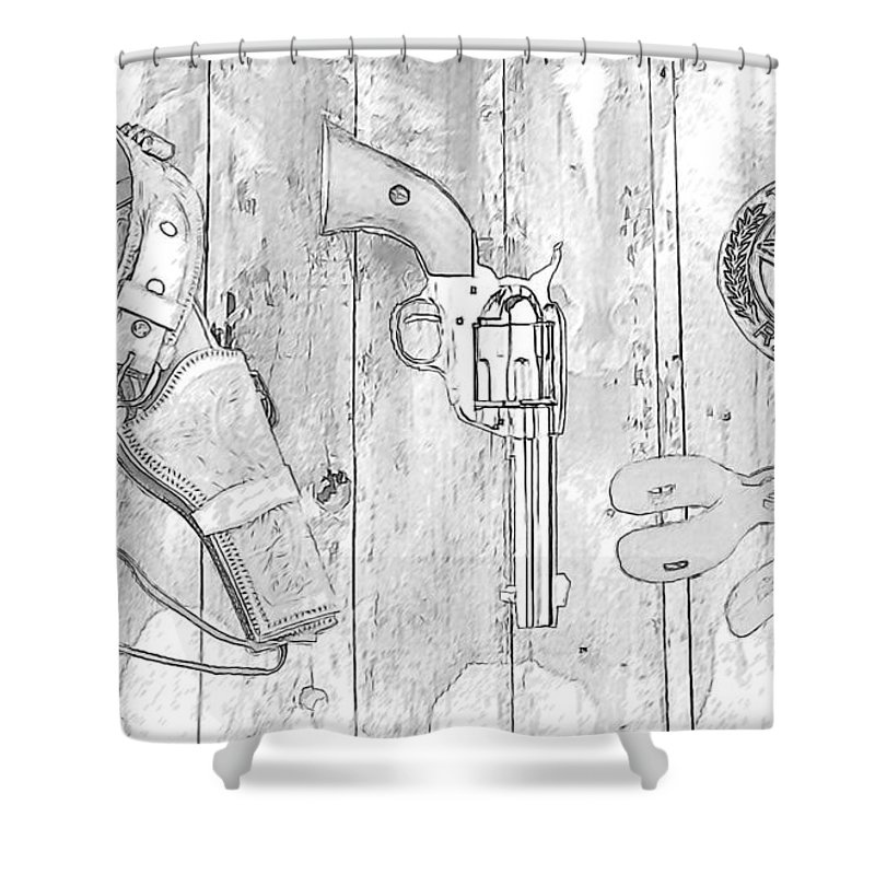 Texas Rangers Shower Curtain featuring the photograph Ranger Up - Bw by Tommy Anderson