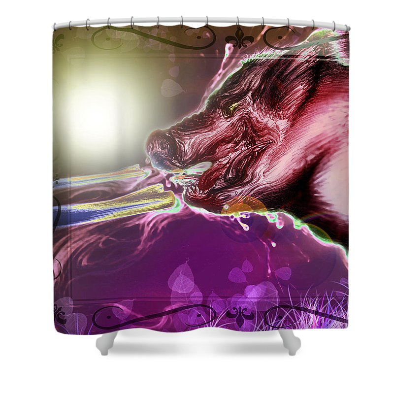 Adolescent Shower Curtain featuring the digital art Rapto Y Muerte 1 by Ruben Santos