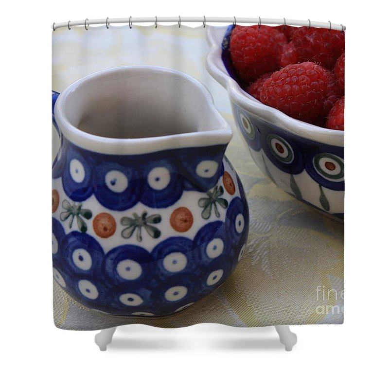 Raspberries Shower Curtain featuring the photograph Raspberries With Cream by Carol Groenen