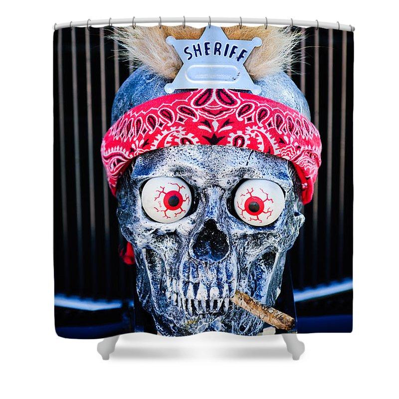 Skull Shower Curtain featuring the photograph Rat Rod Skull Hood Ornament 2 by Jill Reger
