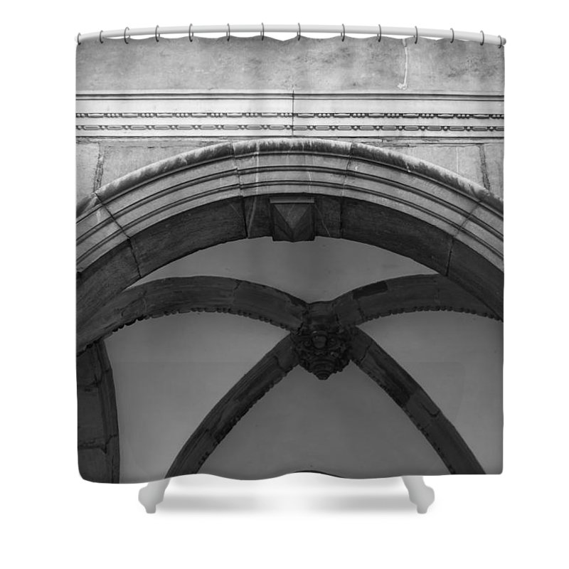 2014 Shower Curtain featuring the photograph Rathaus Arch Bw Cologne Germany by Teresa Mucha