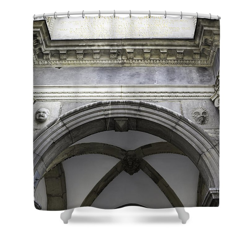 2014 Shower Curtain featuring the photograph Rathaus Arch by Teresa Mucha